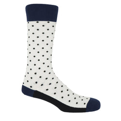 White pin polka men's socks with black polka dots and a navy heel, toe and cuff