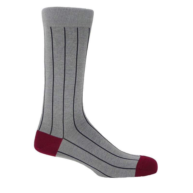 Pin Stripe Men's Socks - Ash
