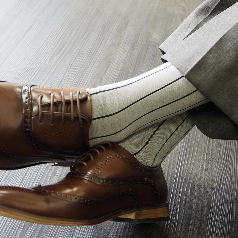 Ash Pin Stripe Luxury Men's Socks