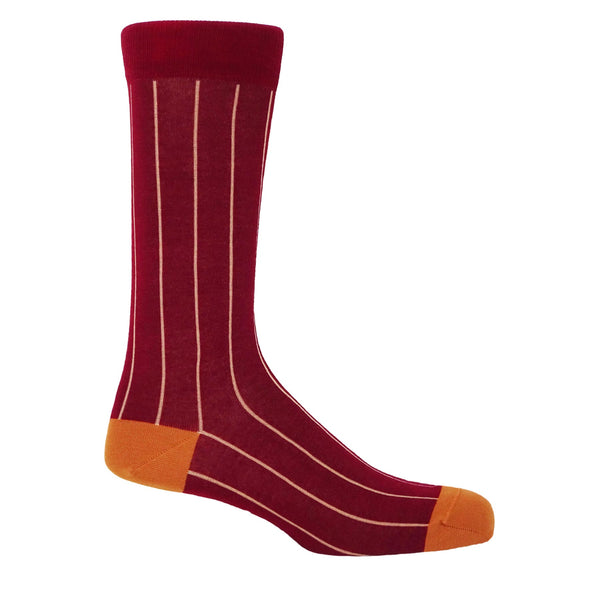 Pin Stripe Men's Socks - Crimson