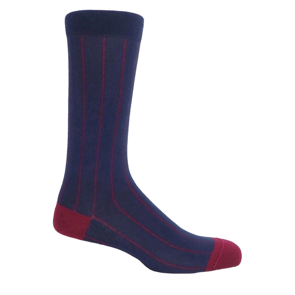 Pin Stripe Men's Socks - Navy