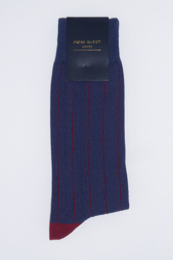Pin Stripe Navy Men's Luxury Socks