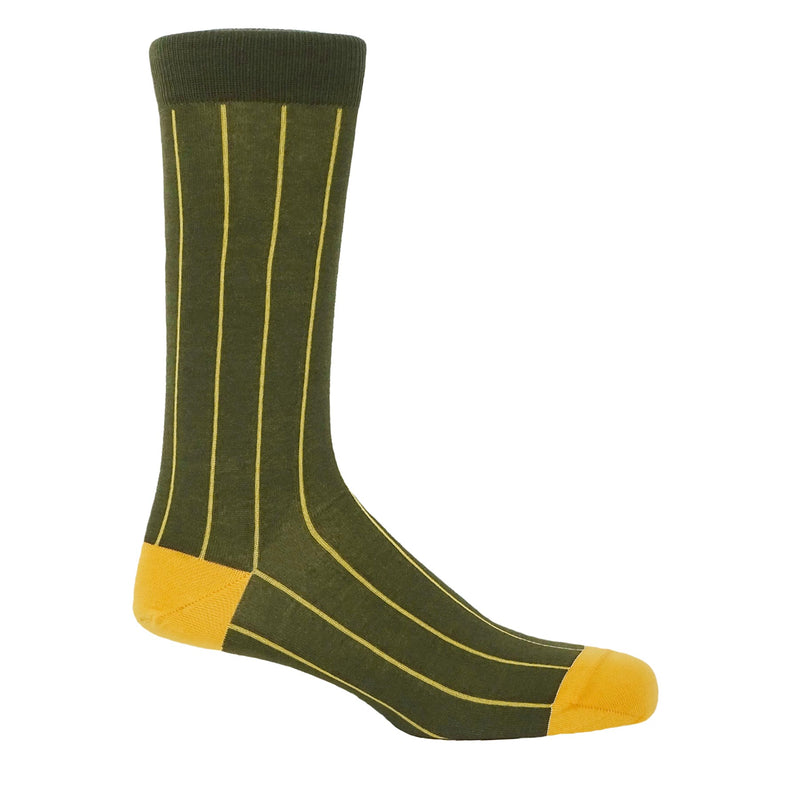 Pin Stripe Men's Socks - Green
