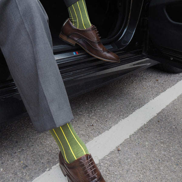 Pin Stripe green luxury men's socks