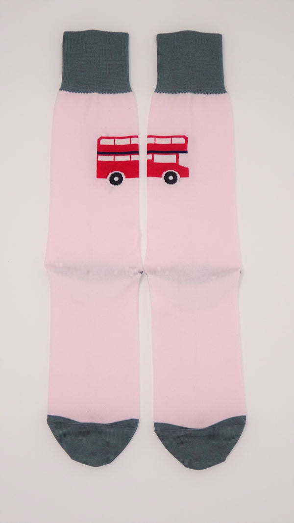 London Bus Pink Men's Socks