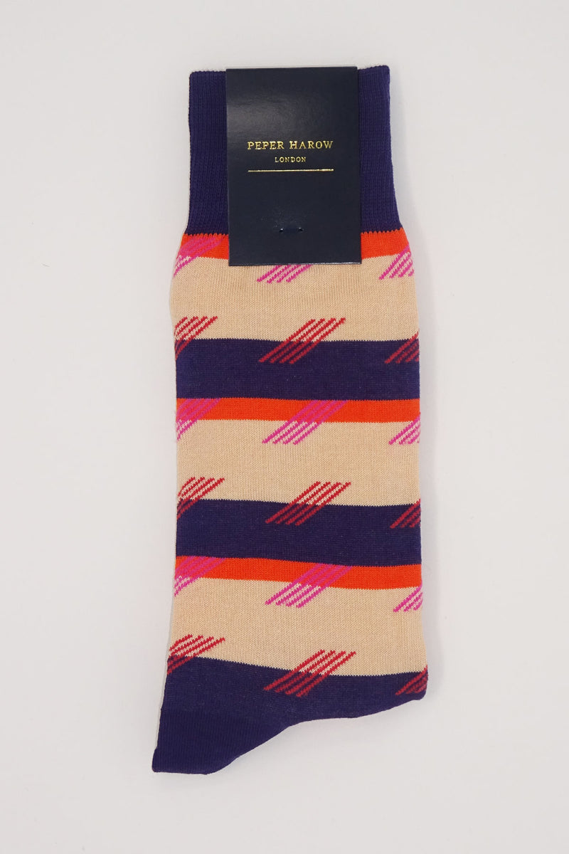 Diagonal Stripe Men's Socks - Purple & Cream