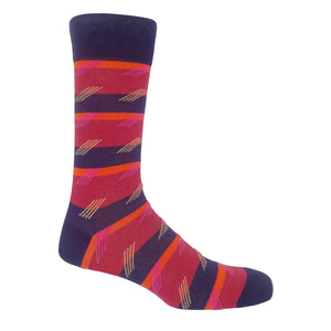 Diagonal Stripe Men's Socks - Crimson