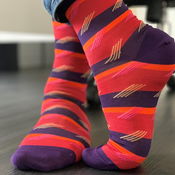 Crimson Diagonal Stripe Luxury Men's Socks
