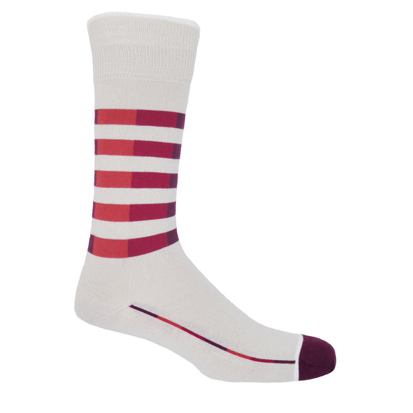 Quad Stripe Men's Socks - Cream