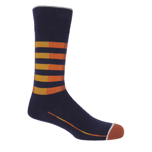 Quad Stripe Men's Socks - Navy