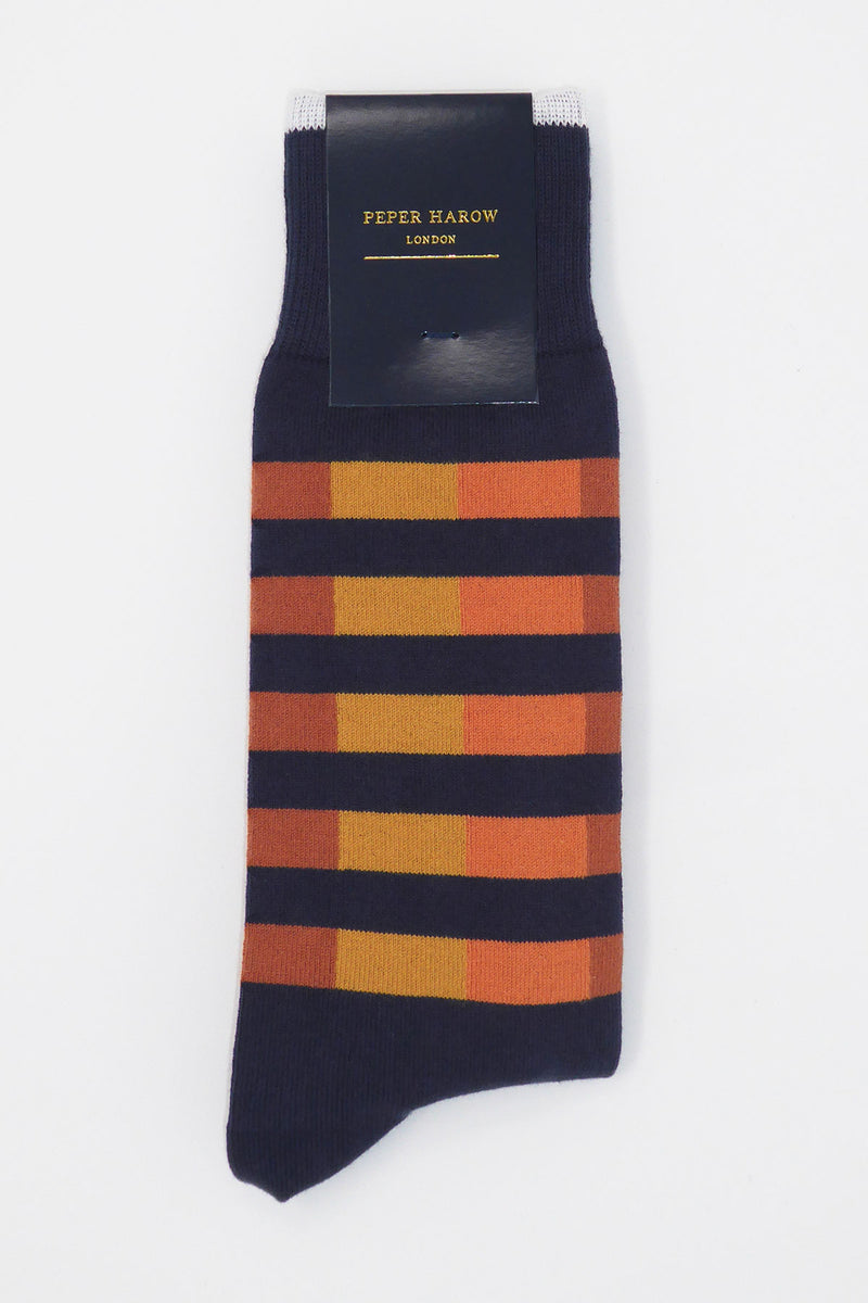 Navy Quad Stripe Luxury men's socks