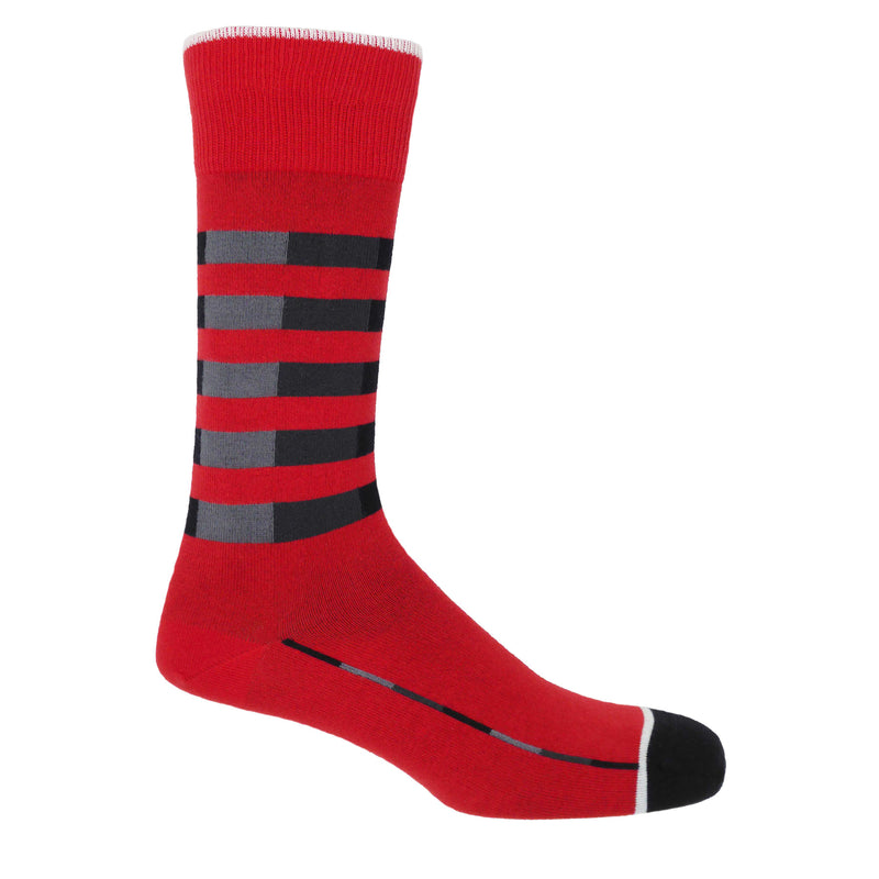Quad Stripe Men's Socks - Red