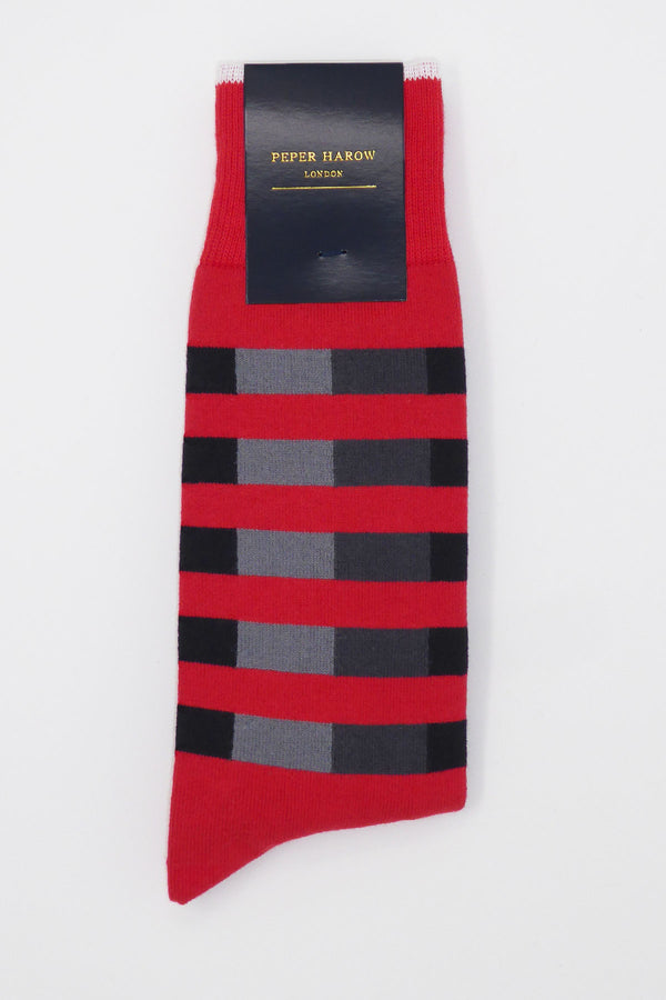 Poppy Quad Stripe Luxury Men's Socks