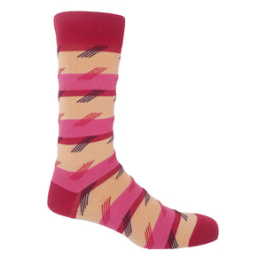 Diagonal Stripe Men's Socks - Cream