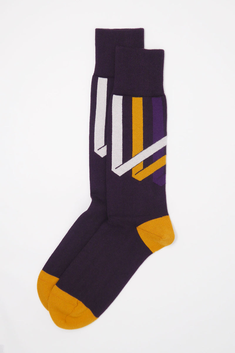 Ribbon Stripe Men's Socks - Mauve