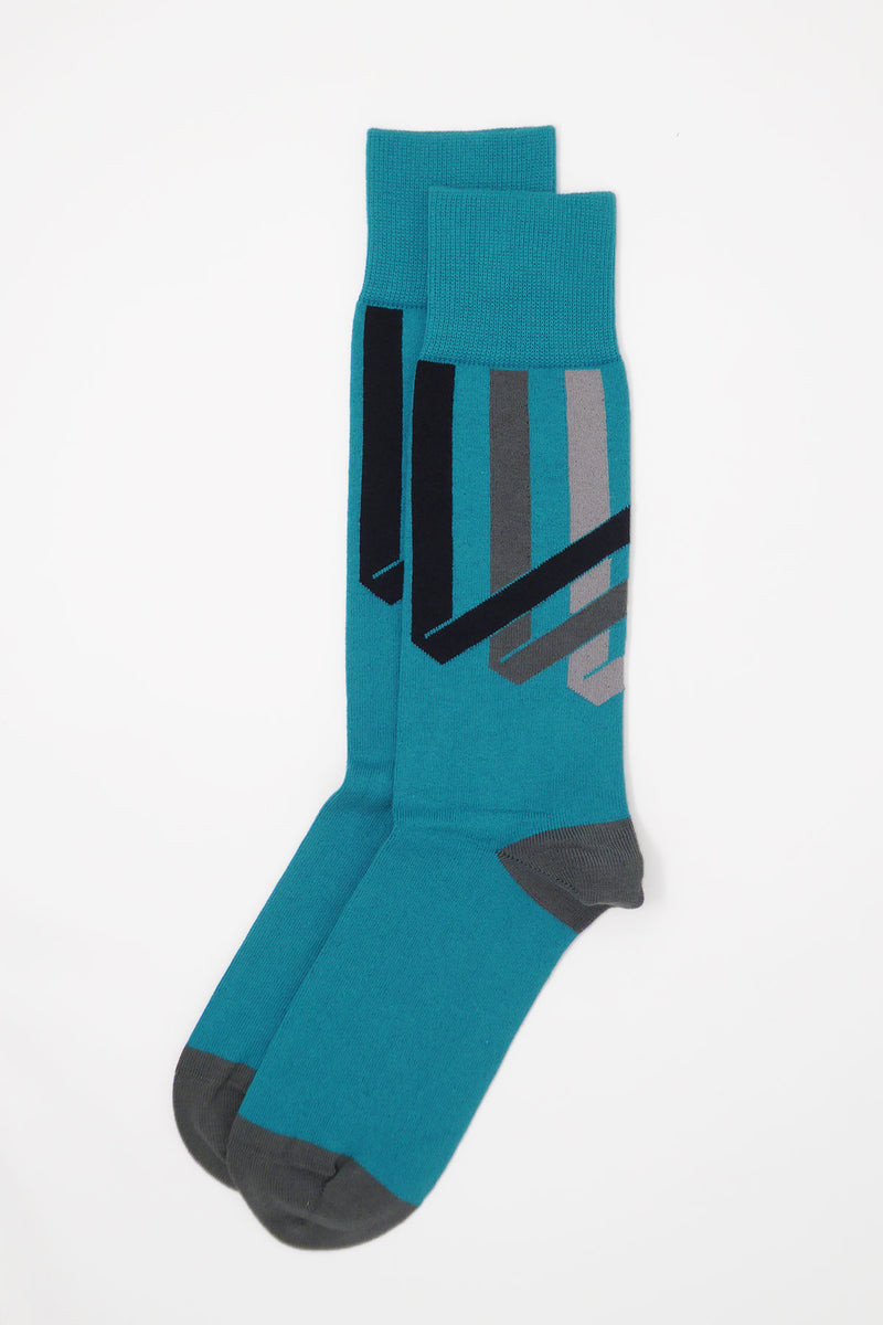 Ribbon Stripe Men's Socks - Peacock