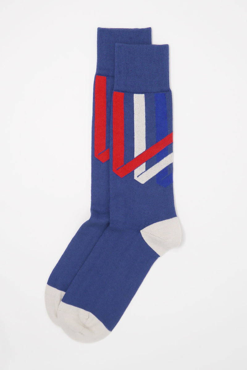Ribbon Stripe Men's Socks - Royal Blue