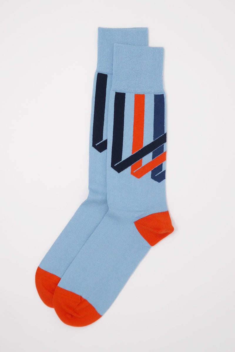 Ribbon Stripe Men's Socks - Sky