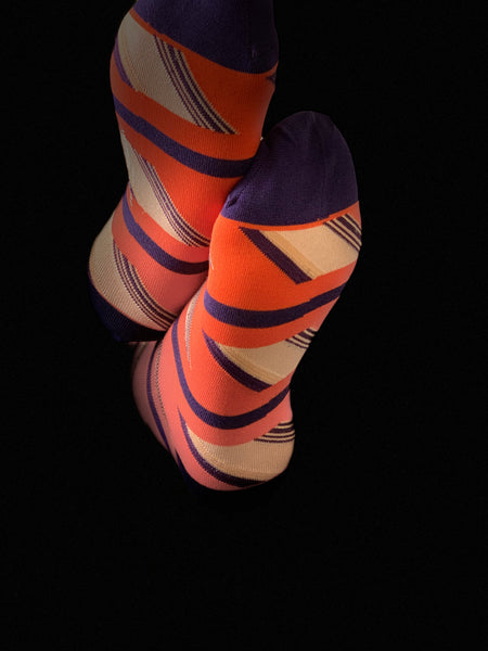 Geometric Purple & Orange Men's Socks