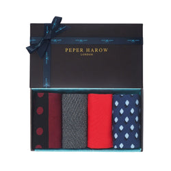 Peper Harow Sophisticated Men's gift box containing the burgundy mayfair, onyx chevron cinnabar red square mile and navy disruption supima and mercerised egyptian cotton socks