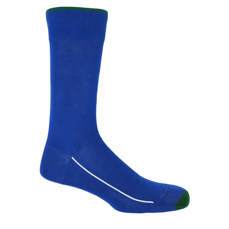 Cobalt blue square mile men's socks with a green toe and cuff line, and a white line down the side of the foot