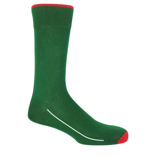 Emerald green square mile men's socks with a red toe and cuff line, and a white line down the side of the foot