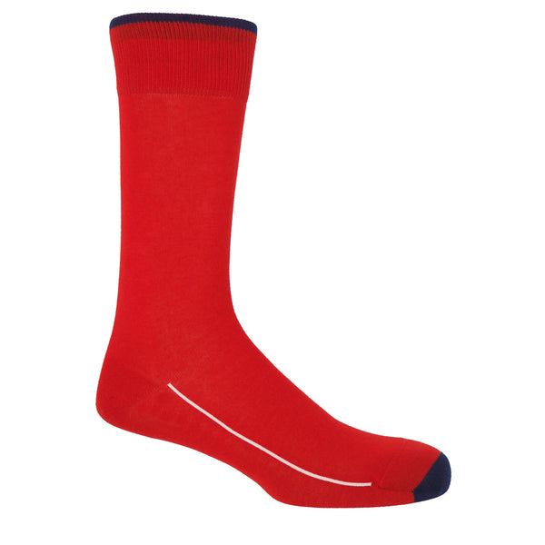 Cinnabar red square mile men's socks with a navy toe and cuff line, and a white line down the side of the foot