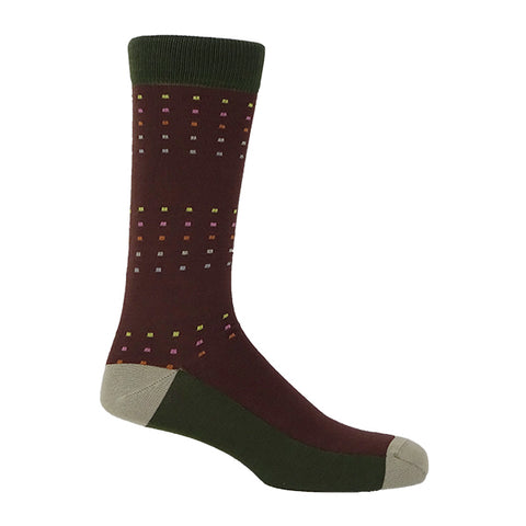 Square Polka Brown & Green Personalised Socks
