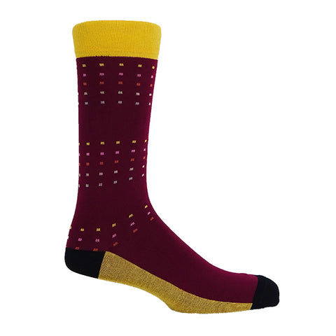 Square Polka Burgundy & Yellow Personalised Socks