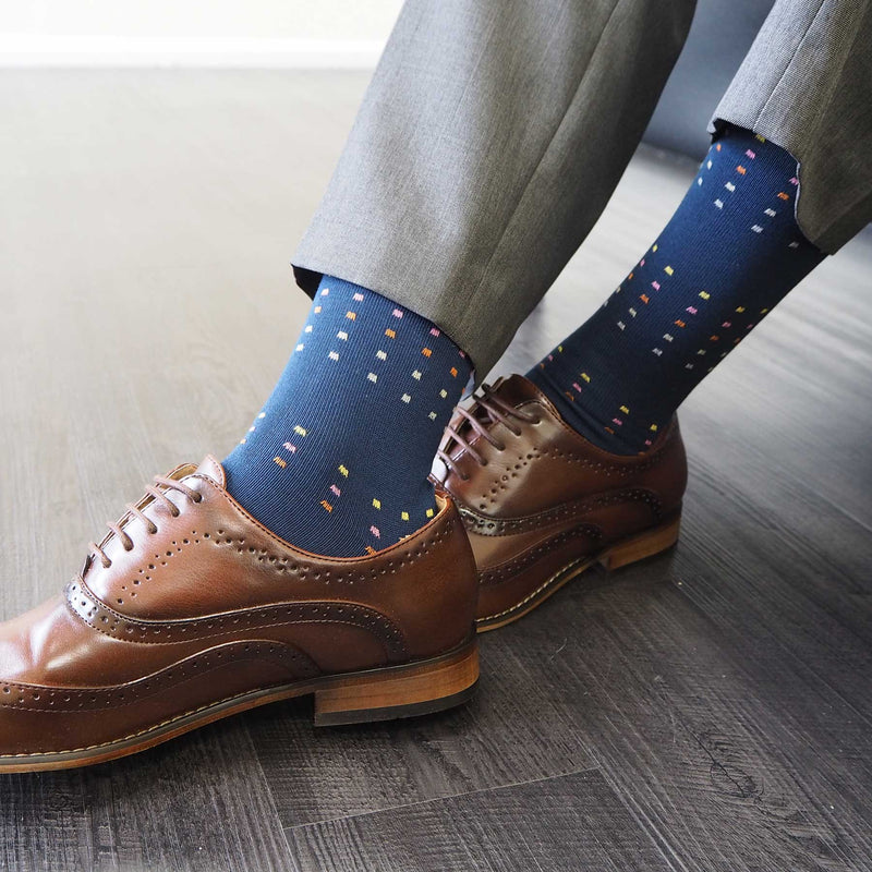 Navy Square Polka Luxury Men's Socks