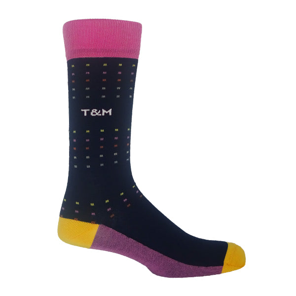 Navy & Pink Square Polka Personalised Men's Socks