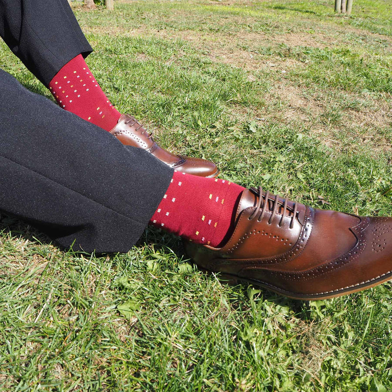 Burgundy Square Polka Luxury Men's Socks