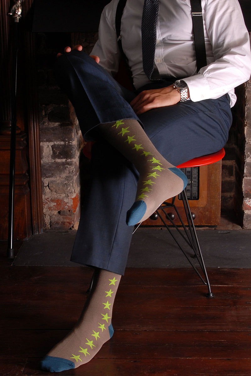 Olive Starfall Luxury Men's Socks
