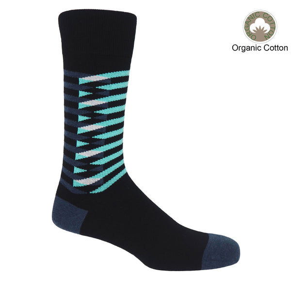 Peper Harow Black Symmetry Organic cotton socks for men with interlaced navy and light blue stripes down the calf