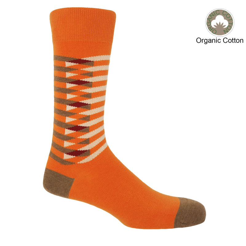 Peper Harow Orange Symmetry men's organic cotton socks with interlocking, symmetrical white and brown stripes down the calf