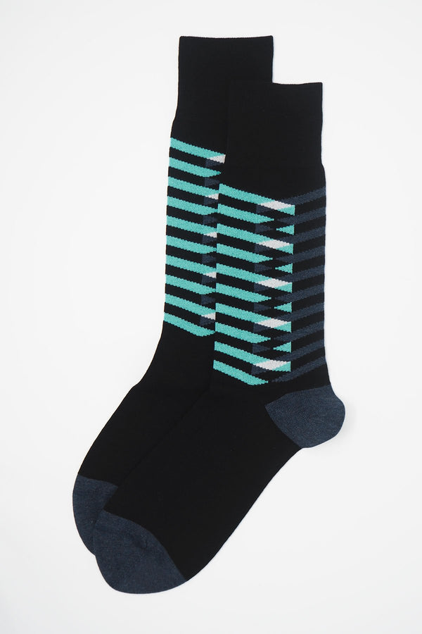 A pair of Symmetry black men's luxury socks by Peper Harow, featuring stylish aqua and navy blue stripes, and a navy heel and toe.