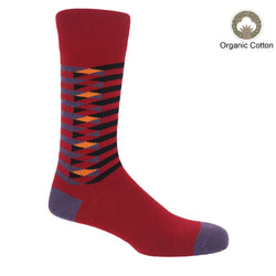 Symmetry red men's luxury socks by Peper Harow, featuring stylish purple and black stripes, and a purple heel and toe.
