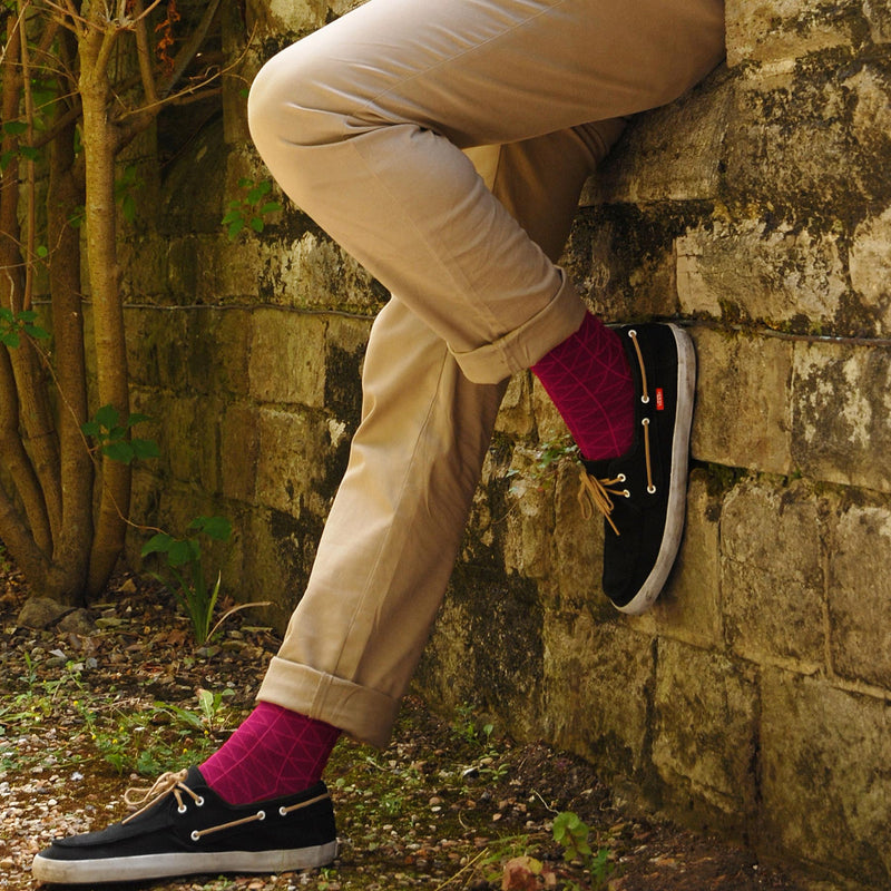 Burgundy Tritile Luxury Men's Socks