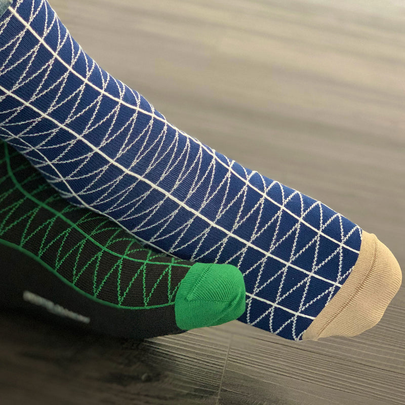Tritile Royal Blue and Tritile Black Luxury Men's Socks