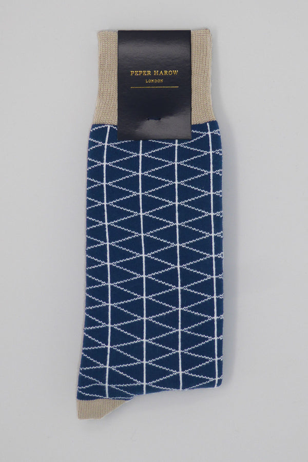Royal Blue Tritile Luxury Men's Socks