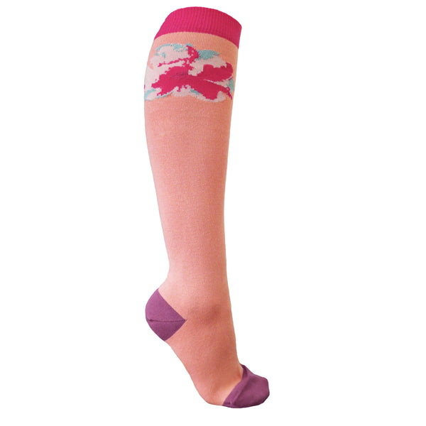 Wild Flower Knee-Length Women's Socks - Peach