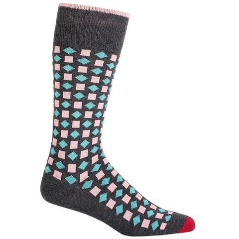 Grey Diamonds Three Tone Men's Socks