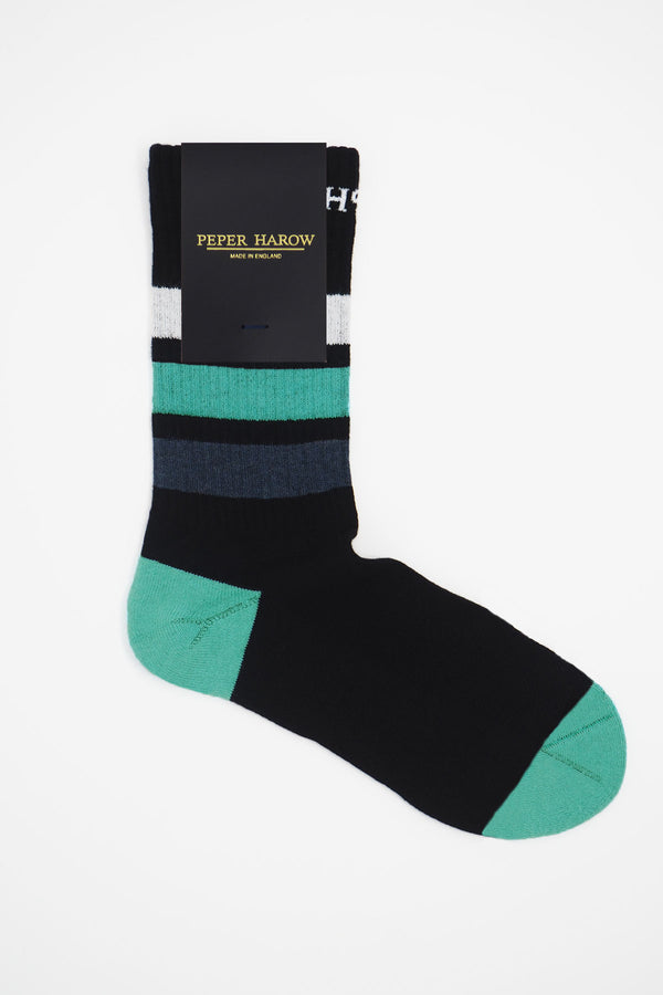 Peper Harow black organic cotton men's sport socks in packaging