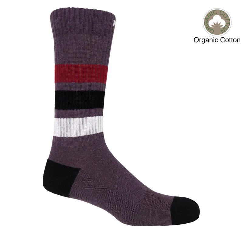 Peper Harow mauve Striped Sport luxury men's organic cotton socks