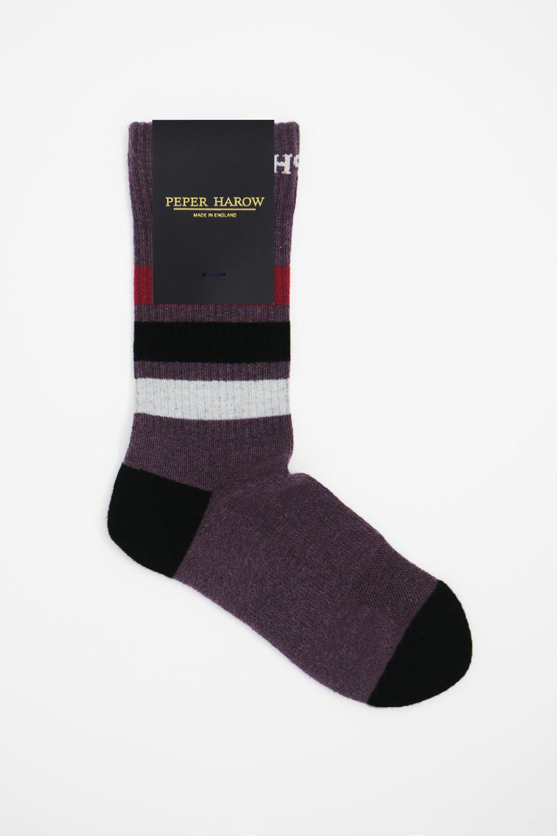Peper Harow mauve organic cotton men's sport socks in packaging