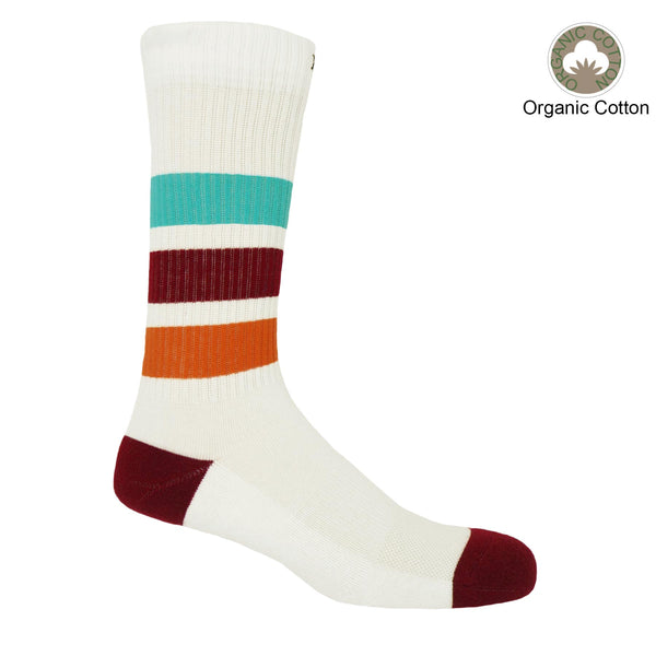 Peper Harow white striped organic men's luxury sport socks