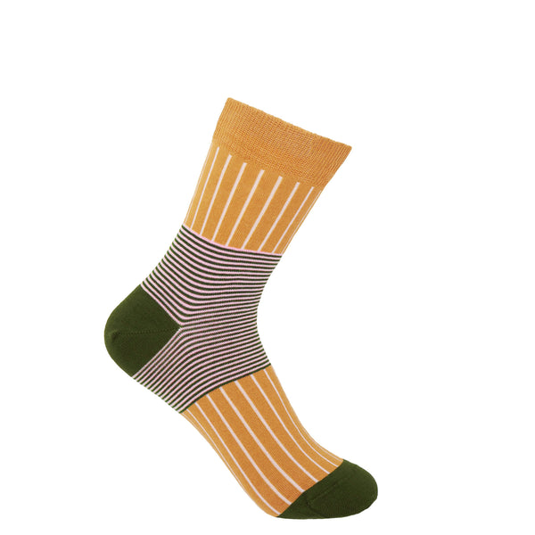 Peper Harow mustard Oxford Stripe women's luxury socks
