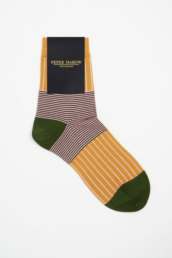 Peper Harow mustard Oxford Stripe luxury socks in packaging