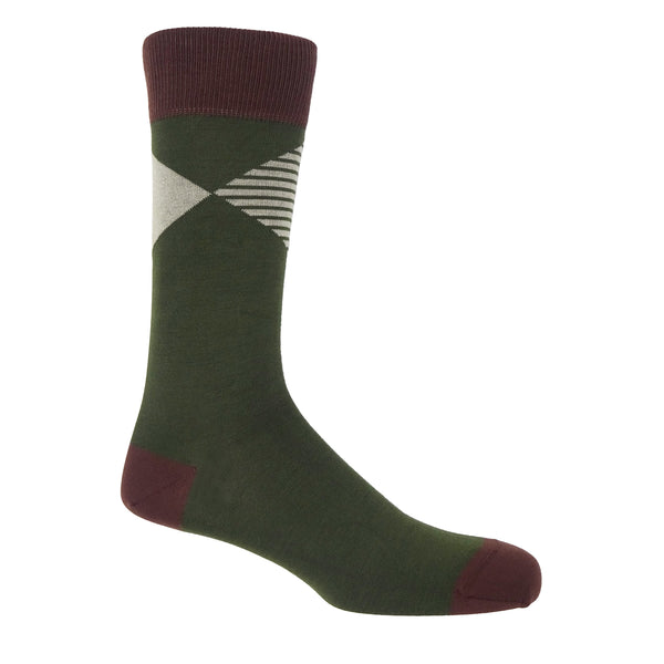 Peper Harow green Big Diamond luxury men's socks featuring a solid and striped diamonds coalescing at their points
