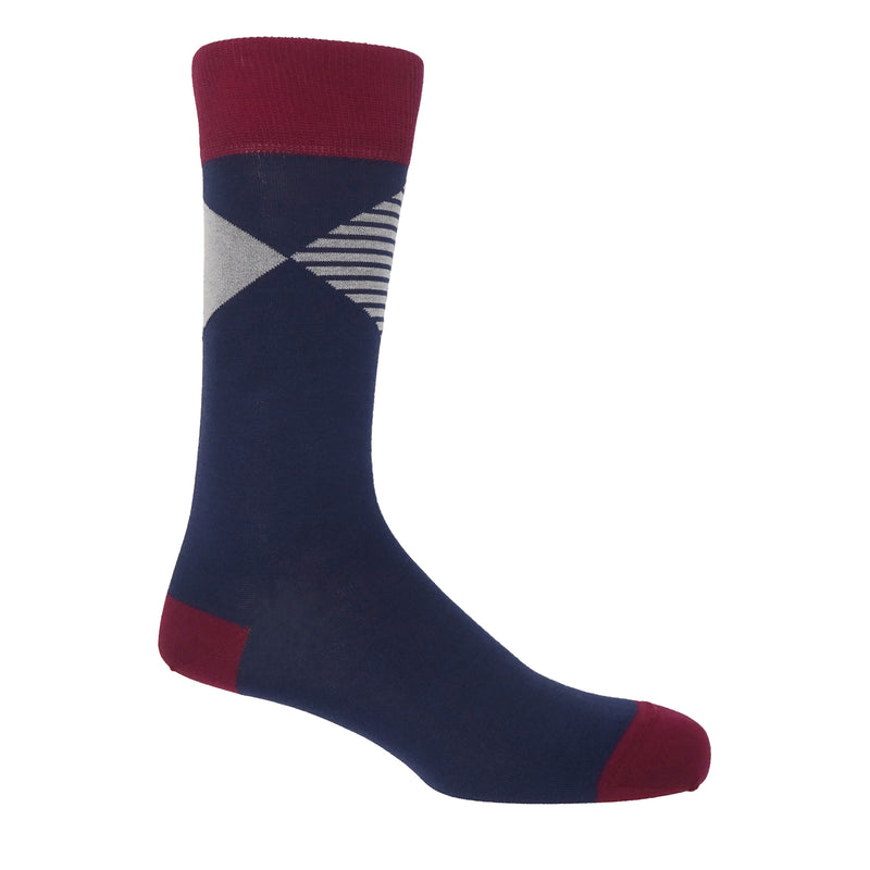 Peper Harow navy Big Diamond luxury men's socks featuring a solid and striped diamonds coalescing at their points